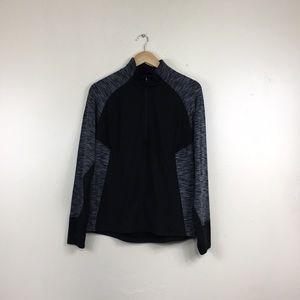 Danskin Black Grey Fitted Half Zip Jacket
